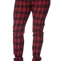 Plus size Punk Rock Funky Red Plaid Tartan Check Skinny Jeans