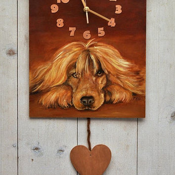 PAINTED CLOCK, DOG portrait, Hand painted, Original oil painting, Wall clock, Unique wall decor, Spaniel, for pet lover