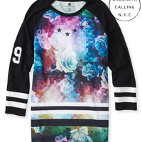 Brooklyn Calling 3/4 Sleeve Floral Hockey Tee
