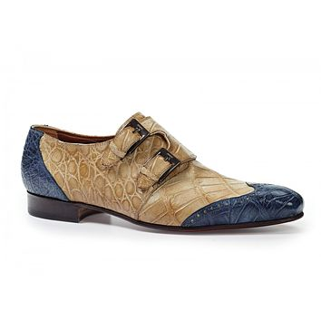 Mauri - 1010 Masolino Alligator Monk Strap Shoes Blue / Bone