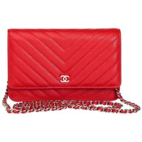 2017 Chanel Red Chevron Quilted Caviar Leather Wallet-On-Chain WOC