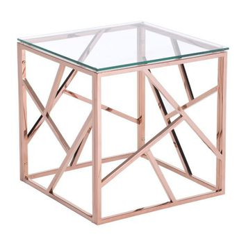ZUO Modern Cage Side Table Rose Gold 100182 Living Side Consoles