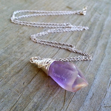 Raw Amethyst Pendant Necklace, Silver Wire Wrapped Gemstone Purple Quartz Crystal Point Pendant, Bohemian Valentine Pendant Sterling Chain