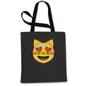 (Color) Emoticon - Heart Eyes Cat Face Smiley Shopping Tote Bag