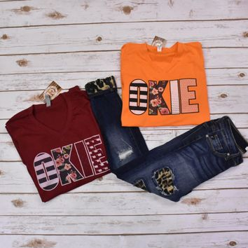 Orange Mixed Prints Okie T-shirt