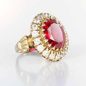 Art Deco Ruby Ring, 10K Solid Gold size 5, Mark SA Hand Made, Cocktail Diamond Ring Antique jewelry