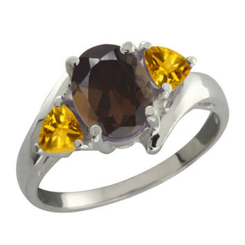 1.60 Ct Oval Brown Smoky Quartz and Citrine 925 Silver Ring