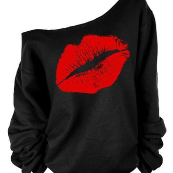 Black Off Shoulder Lip Print Long Sleeve Sweatshirt