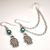 Hamsa Hand Ear Cuff.  Ear cuff pair. Ear cuff with chain.