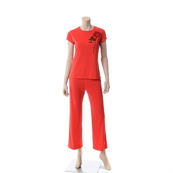 Vintage 70s Miss Shaheen Red Rose Pantsuit 1970s Top and Pants Two-Piece Outfit Hippie Boho Jumpsuit Alfred Shaheen Pant Suit