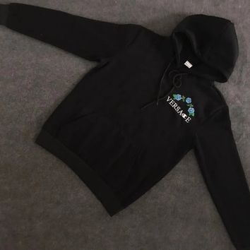 Versace : Champion Flower Rose Embroidered Sweater Hoodie Pullover