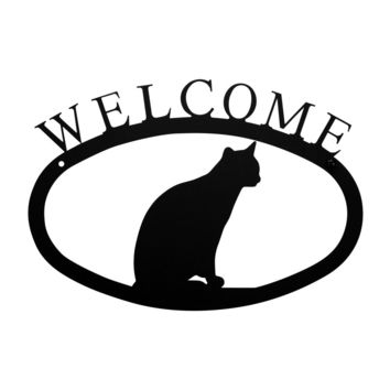 Wrought Iron Cat Sitting Welcome Home Sign Small
