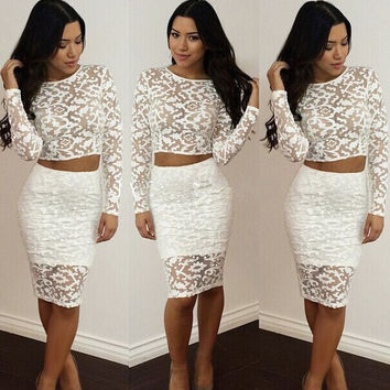 Lace Hollow Out Crop Tops Bodycon Short Skirt Suits