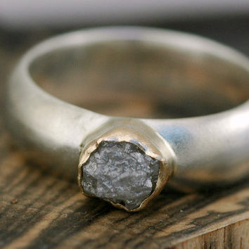Rough Diamond Sterling Silver and Gold Ring by Specimental