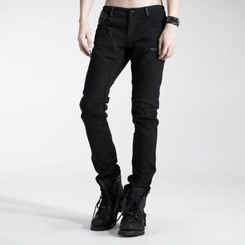 Punk Rave Casual Mens Pants Gothic Fashion Black Handsome Streampunk Motorcycle K154