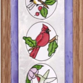 Three Birds in Oval Vertical Stained Art Glass Panel