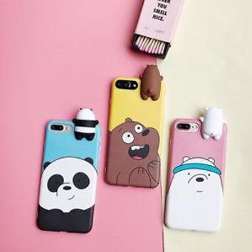 3D Cartoon Animals Cute We Bare Bears Soft Silicone Case Cover Skin F iPhone 6 7