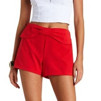 Bow-Topped High-Waisted Shorts by Charlotte Russe - Coral