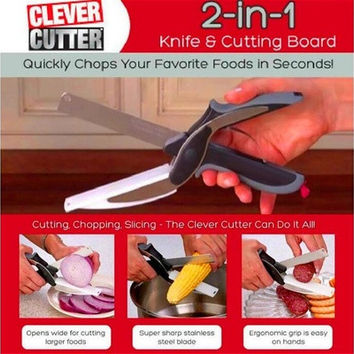Free Gift! Fantasic Clever Cutter 2-in-1 Safe Pro Cutting Board and Knife As Seen On TV [9305894087]