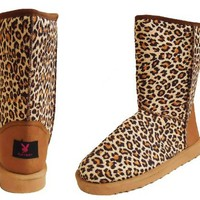Playboy Leopard Round Toe Mid Calf Faux Shearling Boot