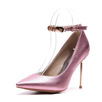 Pointed Toe Ankle Strap High Heel Pumps Stiletto Heels Shoes Woman 9569