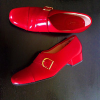 70s Vintage Cherry Red Mod Monk Strap Shoes new in the box size 9 or 9.5 or 10N