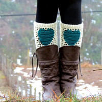 ivory Teal Short Heart Knit Boot Cuffs Love Heart by EmofoFashion