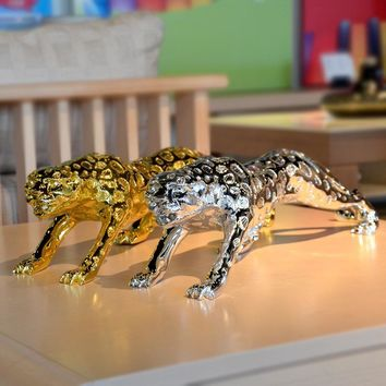 animal figurines resin Leopard statue home sculpture crafts ornaments decoration business gift gold silver color