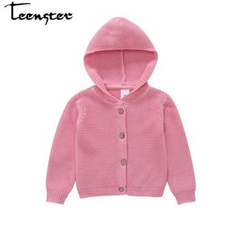 Teenster Baby Girl Autumn Winter Sweater Hooded Knitted Coat Newborn Kids Clothes Cardigan Infant Casual Sweaters 9 12 18 24 M
