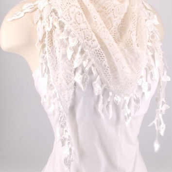 White Crochet Leaf Fichu Vintage Roses Scarf Shawl Cowl Triangle Sheer Hijab Fashion Lightweight Women Accessories by Creations by Terra