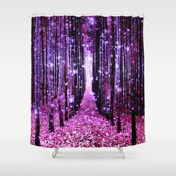 Magical Forest Pink & Purple Shower Curtain by 2sweet4words Designs