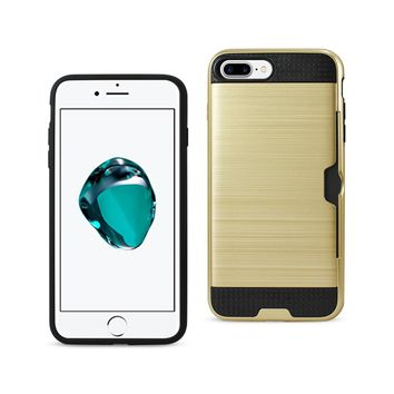 New Slim Armor Hybrid Case With Card Holder In Gold For iPhone 7 Plus