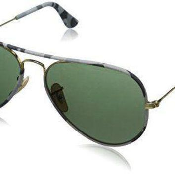 Gotopfashion Authentic RAY-BAN Aviator Gold/Grey Camo Sunglasses RB3025JM - 171 *NEW* 55mm
