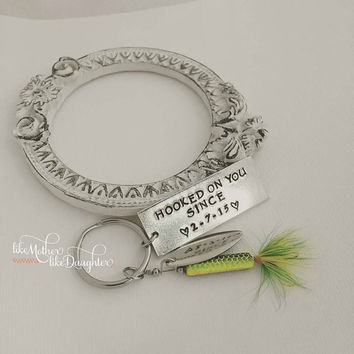 Personalized Keychain - Personalized Hand Stamped Hooked On You Key Chain - Hooked on You - Fish Keychain - Fisherman Gift - Mens Gift