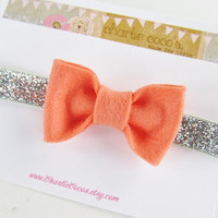 "Baby/Girls Felt Bow Headband, Coral Felt Bow with Silver Glitter Headband, Wool Felt Bow Headband-""Coral and Silver"""