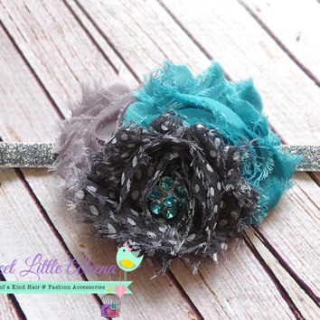 Grey Teal Headband - Polka Dot Headband - Baby Headbands - Shabby Flower Hair Clip - Childrens Hair Bows - Newborn Jewel Headband - Toddler