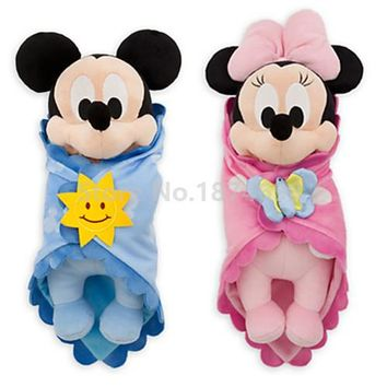 New Babies Mickey Minnie Baby With Blanket Plush Toy Set of 2 Cute Swaddle Stuffed Animals Kids Toys Dolls for Children Gifts