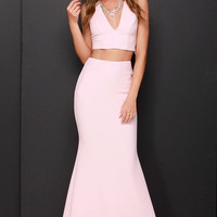 Flutterby Light Pink Two Piece Maxi Dress