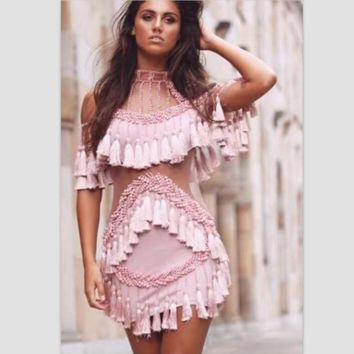Fashion Sexy off shoulder high neck  Nail bead falbala belly hollow gauze  dress