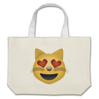 Smiling Cat Face With Heart Shaped Eyes Emoji Tote Bags