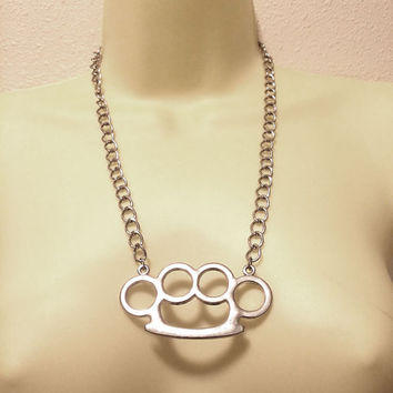 brass knuckles pendant necklace lsilver tone metal chain weapons jewelry handmade unisex mens womens