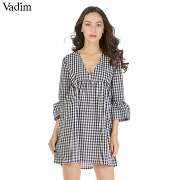 V neck plaid pleated one piece dress vintage flare bell sleeve ruffles ladies cute casual mini dresses