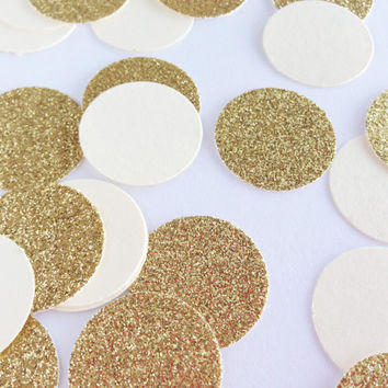 "100 Cream + Gold Glitter - 1 Inch Circle Confetti - 1"" - Confetti for weddings, birthdays, parties and more!"