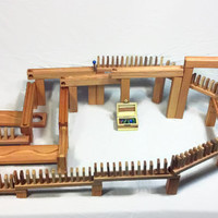 240 Piece Wooden Marble Run and Domino Super Set