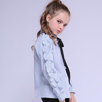Baby Striped Shirts For Girls School Uniforms Ruffles Bow Blouses For Toddlers Students Outerwear Teenage Kids Tops