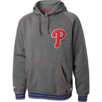 Philadelphia Phillies Charcoal Contrast Stitch V-Notch Hooded Fleece