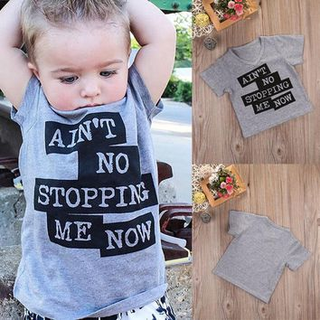 Toddler Baby Kids Boy Clothes Tops Short Sleeve T-shirt Grey Letter Print Boys Clothing Tee Tops 1-6Y
