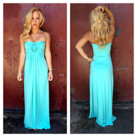 Mint Strapless SKY Maxi Dress