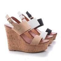 Bunty2 Strappy Slingback Corkscrew Platform High Wedge Sandals