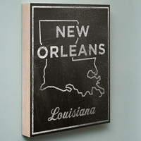 New Orleans Chalkboard Print Wood Art
